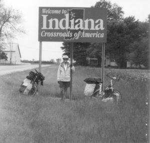 Emily with Indiana welcome sign