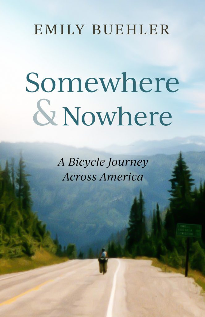 "cover of book ""Somewhere and Nowhere"" showing bicycle on road in mountains"
