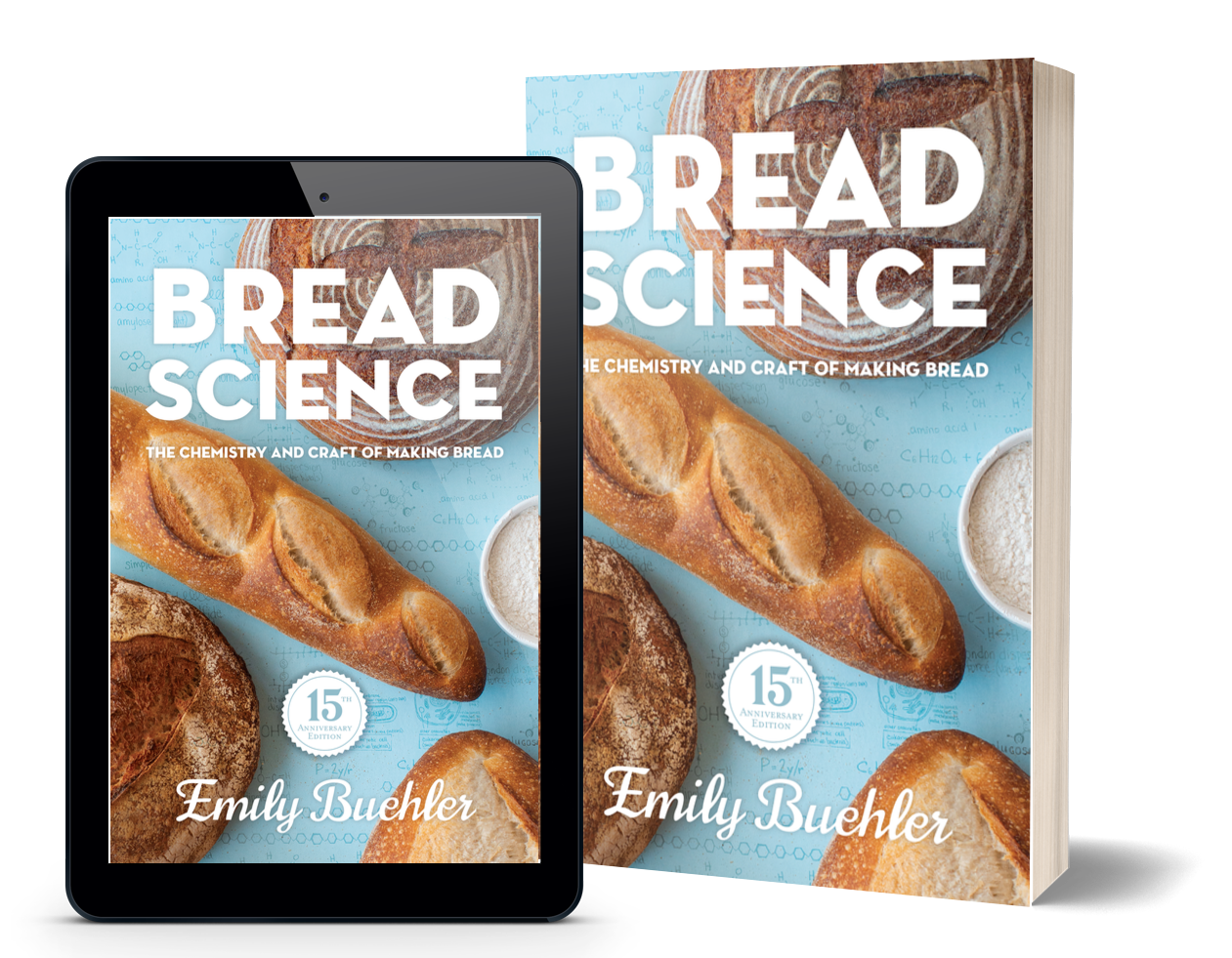 cover of 15th anniversary Bread Science on tablet and paperback