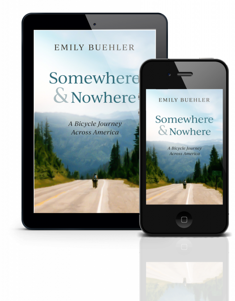 cover of Somewhere and Nowhere showing bicyclist on road through forested mountains, on a tablet and a smart phone